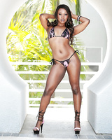 Famous ebony pornstar Skyler Nicole showing off hard teen body in bikini