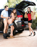 Bad girls Alana Cruise & Charlotte Cross flash their tits and ass in driveway