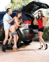 Sexy Charlotte Cross fucks her mom Alana Cruise's boyfriend on the parking lot