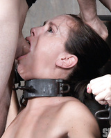 Bondage slut Alana Cruise got her mouth dicked and pussy toyed up roughly