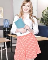 American schoolgirl Dolly Leigh strips naked on top of her teacher's desk