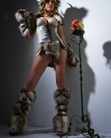 Solo model Brett Rossi shows off her girl parts attired in a viking outfit