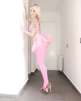Skinny gal Angel Piaff seductively takes off pink outfit being ready for fun