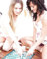 Amateur teens Tess & Angel Piaff feel the power of dyke sex during board game