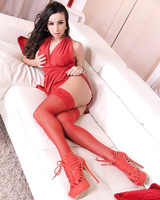 Bombshell in hot red lingerie and high heels Alyssia Kent plays with glass toy