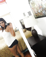 Glamour brunette Shazia Sahari makes a self shot of awesome body and big ass