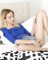 Blonde teen Haley Reed seduces her stepfather by masturbating for him