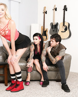 Tattooed couple seduce the blonde babysitter for kinky FFM threesome