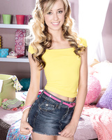 Cutie Haley Reed undresses piece by piece to reveal her young skinny body