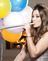 Brunette babe Dani Daniels gets naked after birthday party and plays with her clit