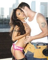 Asian in stockings and panty Kaylani Lei is doing the best oral sucking to the white man