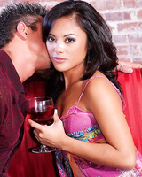 Asian girl Kaylani Lei riding rod in the reverse pose and swallowing it in throat