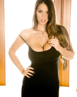 Striking hot brunette Alison Tyler strips her sports garments and caresses her soft body
