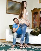 Brunette hottie Abrill Gerald taking a hardcore anal fucking
