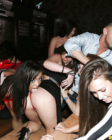 Pornstars Lexi Vex, Alaina Kristar and girlfriends taking group cumshot