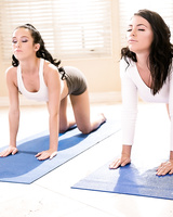 Lesbian squirting action with Adriana Chechik & Megan Rain after yoga class
