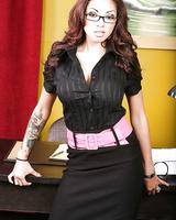 Nerdy secretary Adrenalynn revealing sexy ass on top of office desk