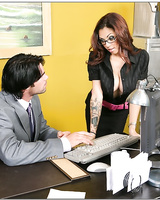 Striking babe in glasses Adrenalynn bent over the table and fucked