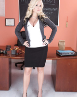 Teacher Alena Croft shows her bubble ass and her big tits in the classroom