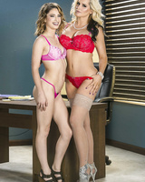 Blonde woman Alena Croft and her stepdaughter Kristen Scott hump in lingerie