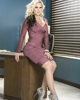 Blonde businesswoman Alena Croft strips t stockings and heels at her desk