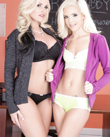 Sexy teacher Alena Croft and her student Halle Von strip each other's clothes