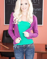 Naughty student Halle Von gets completely naked in the classroom