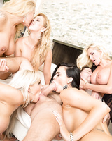 Group of hot moms with big tits do a reverse gangbang with a large cock