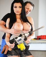 Sweet brunette pornstar Aletta Ocean shows off her big tits while fucking