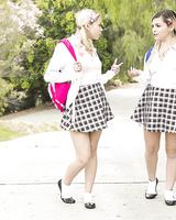 Extremely horny schoolgirls Alex Little and Marsha May sharing a cock