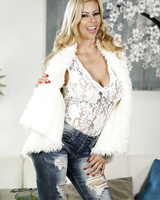 Blonde MILF Alexis Fawx doffs ripped jeans and a onesie to model in the nude
