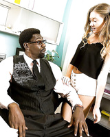 Gorgeous teen pornstar Allison Faye sucking on a big black cock