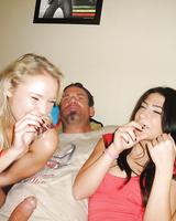 Latina teens Natalia Royge and Allie Jordan suck cock after smoking weed