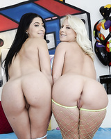 Hot pornstars Allie Jordan & Kimmy Olsen exposing their gorgeous asses