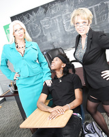Busty teachers Alura Jenson & Dee Williams in a threesome with a black stud