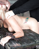 Blonde slave Angel Allwood gets gagged with cock & fucked hard while bound