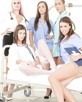 Naughty nurses and hot doctors join a patient for a lesbian orgy