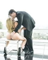 Hot pornstar Anikka Albrite gets her ass pounded after sucking a huge cock