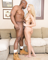 Leggy blonde babe Anikka Albrite bends over for deep anal thrusting from a BBC
