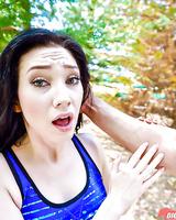 Dark haired slut Aria Alexander taking rough fuck and cum facial outdoors