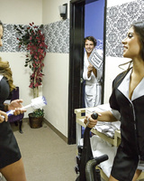 Hot hotel maids Ariella Ferrera and Jynx Maze take care of his hard schlong