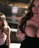 Lesbians Ariella Ferrera & Charlotte Cross suckle each others big tits