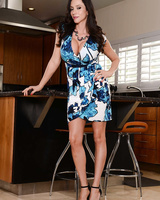 Latina MILF Ariella Ferrera shows heavy tits and trimmed pussy in the kitchen