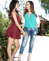 Ariella Ferrera and her stepdaughter Sophia Leone undress in the driveway