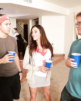 Hot teacher Ariella Ferrera hooks up with teen Aspen Ora and student for 3some