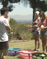 3 couples play group sex games while camping out in the backyard