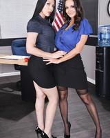 American schoolteachers Ava Addams & Rachel Starr strip naked between classes
