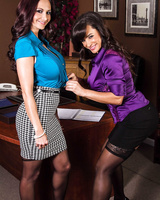 Two office sluts in stockings Lisa Ann and Ava Addams show their curves