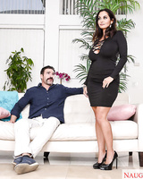 Hot chick Ava Addams decides to blow her gf's husband after seducing him
