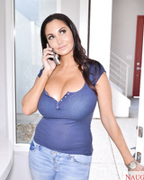 Ava Addams's big white tits look at him as she rides him until he cums on her